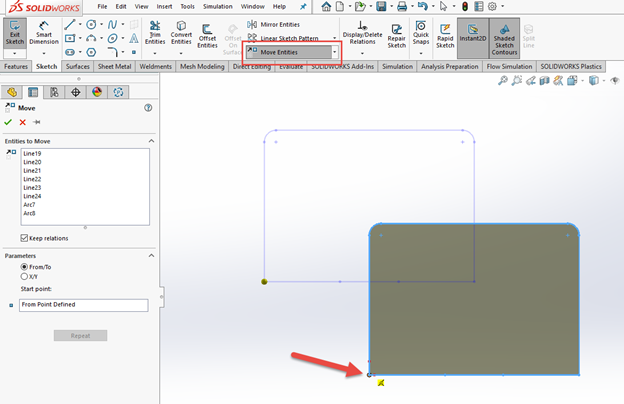 SOLIDWORKS External References Move Entities Command