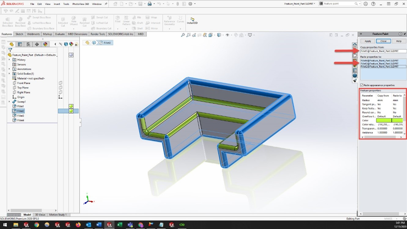 Example of SOLIDWORKS Feature Paint Tool