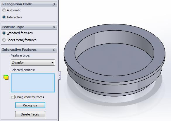 SOLIDWORKS FeatureWorks Chamfer Recognition Results