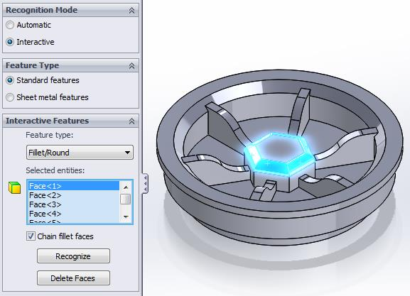 SOLIDWORKS FeatureWorks Fillet Recognition Settings