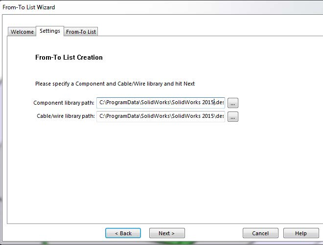 SOLIDWORKS From-To List Creation