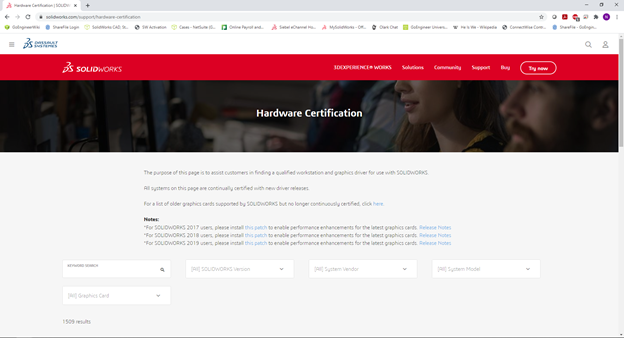 SOLIDWORKS Hardware Certification Page