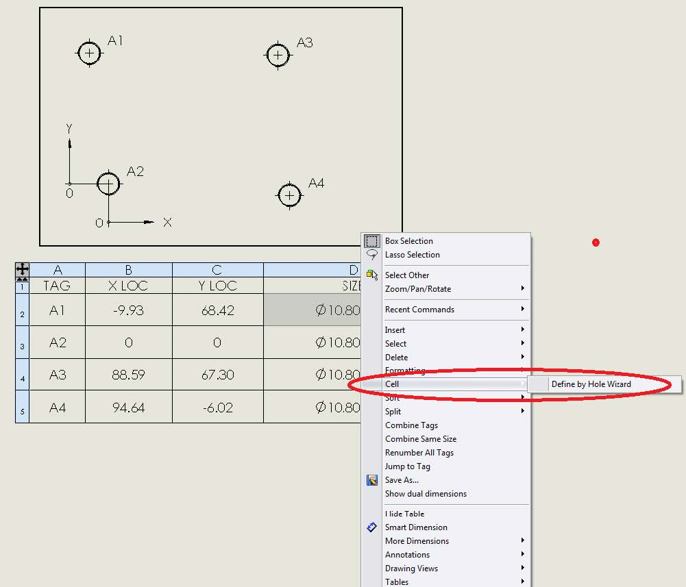 SOLIDWORKS Hole Table Define by Hole Wizard