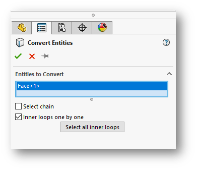 SOLIDWORKS Inner Loops One-by-One Option