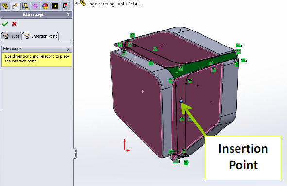 SOLIDWORKS Insertion Point