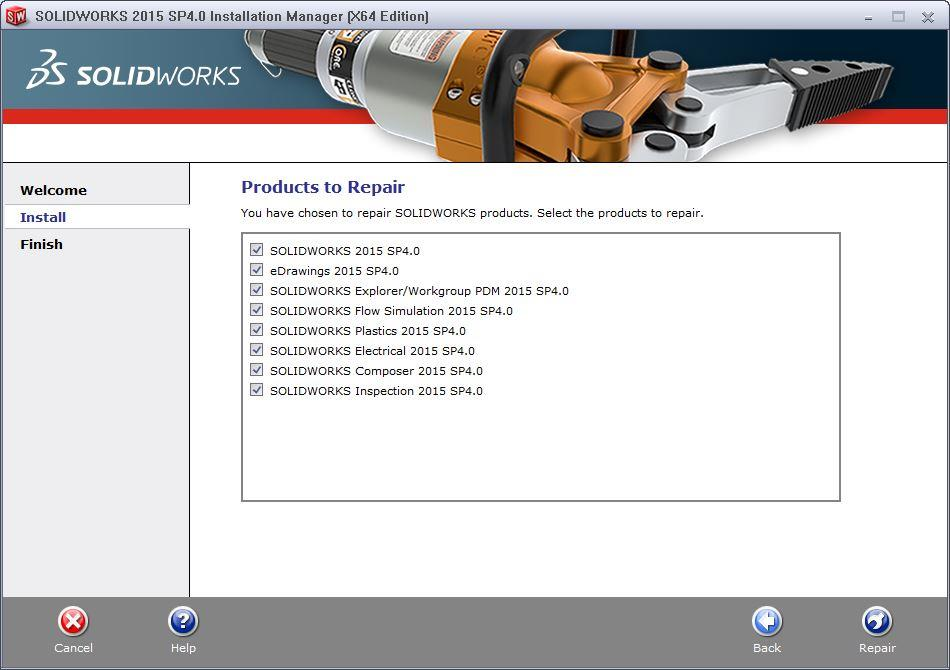 solidworks installation manager products to repair