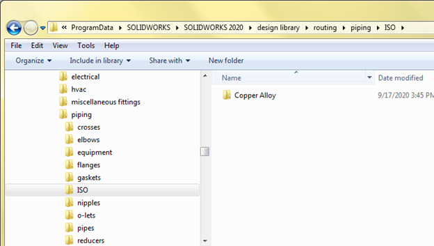 SOLIDWORKS ISO Piping Copper Alloy Library Example
