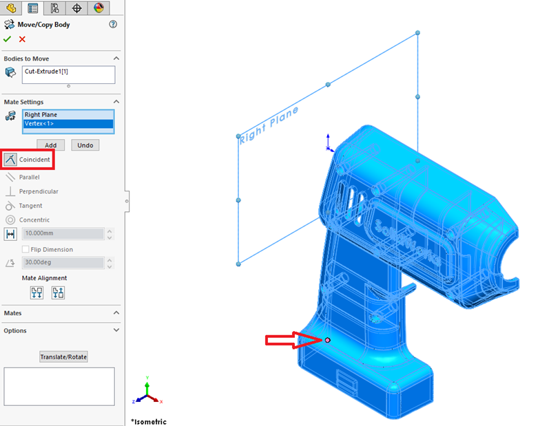 SOLIDWORKS Mate Settings Coincident