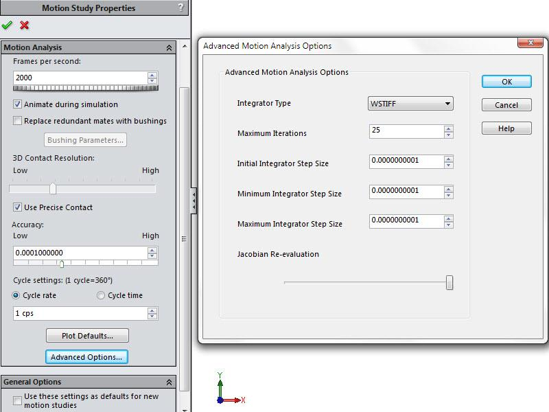SOLIDWORKS Motion Advanced Motion Analysis Options
