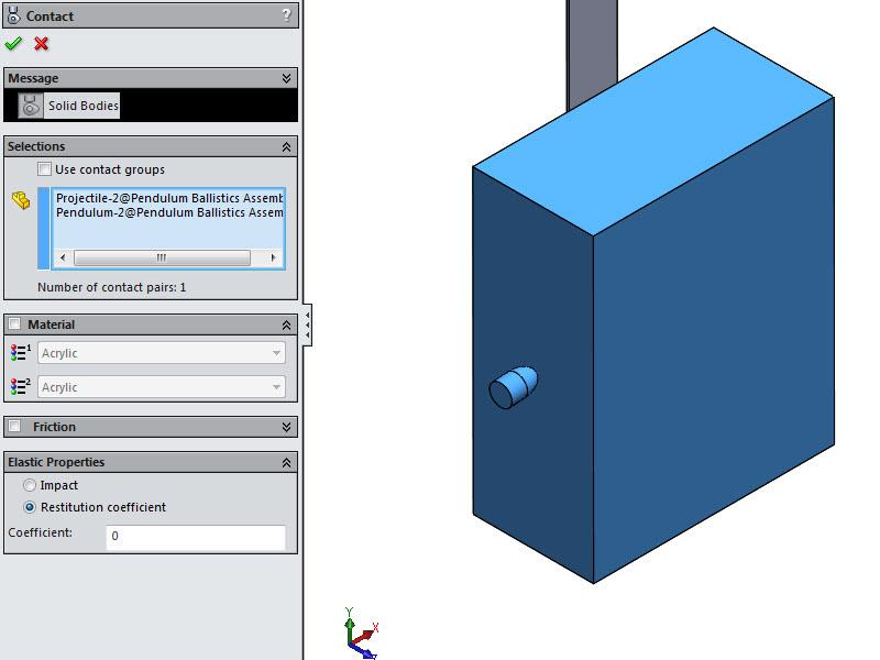 SOLIDWORKS Motion Contact Conditions What-If Scenario