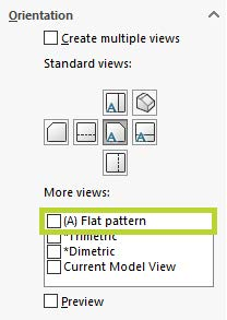 SOLIDWORKS Orientation Flat Pattern Option