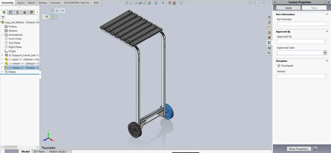 SOLIDWORKS Part Using Custom Property Tab Builder