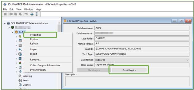 SOLIDWORKS PDM Admin File Vault Properties