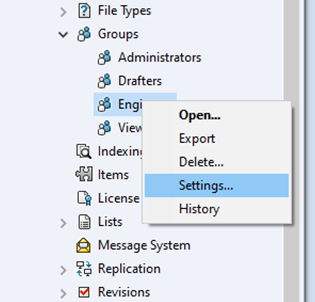 SOLIDWORKS PDM Admin Settings