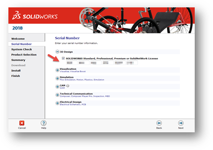 SOLIDWORKS PDM Client Serial Number Window