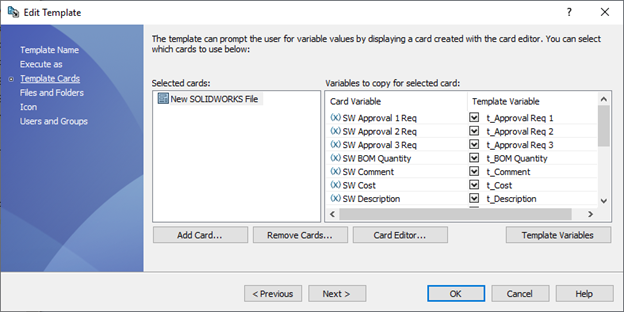 SOLIDWORKS PDM Edit Template