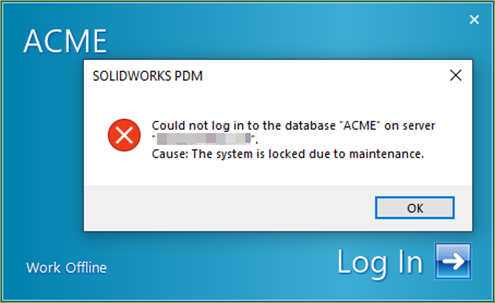 Could not lot into the Database SOLIDWORKS PDM Error Message