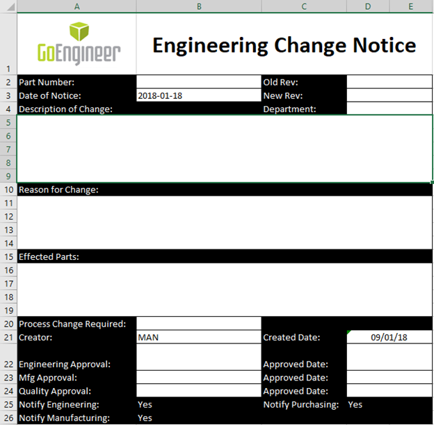 SOLIDWORKS PDM Excel Document as Form