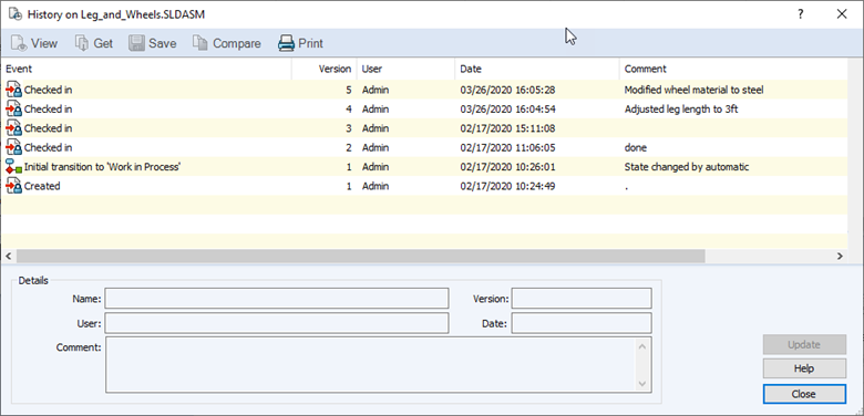 SOLIDWORKS PDM Update Version History Comments