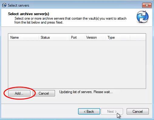 SOLIDWORKS PDM Vault Select Archive Servers