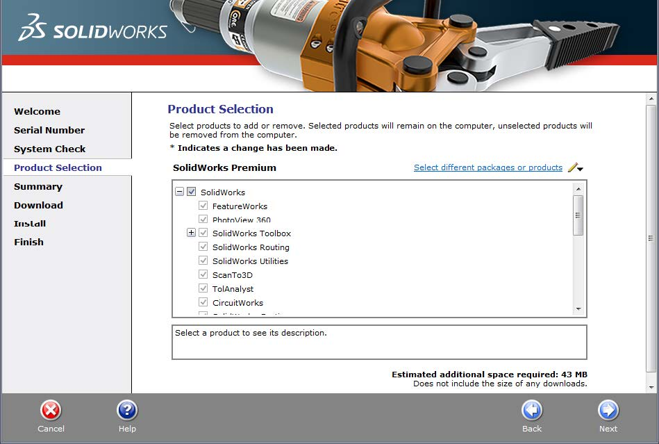 SOLIDWORKS Product Selection for a Commercial License