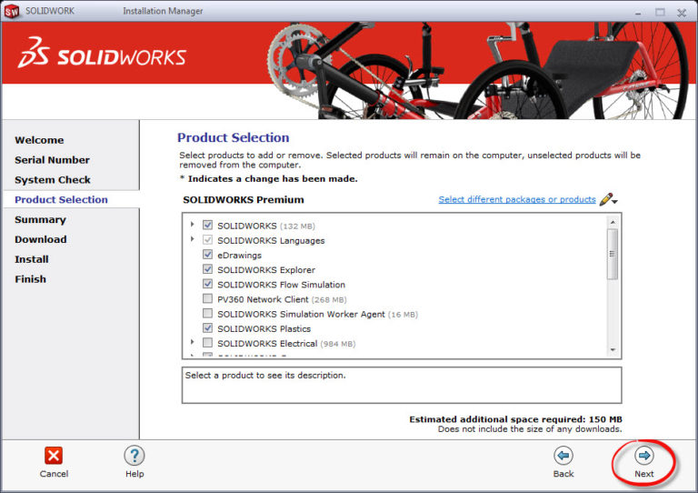 SOLIDWORKS Product Selection page