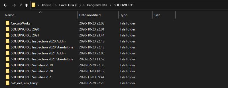 SOLIDWORKS Programdata Folder