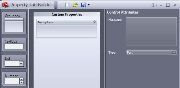 SOLIDWORKS Property Tab Builder Creation Window
