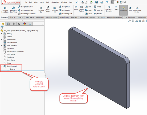 SOLIDWORKS Tutorial Removing External References