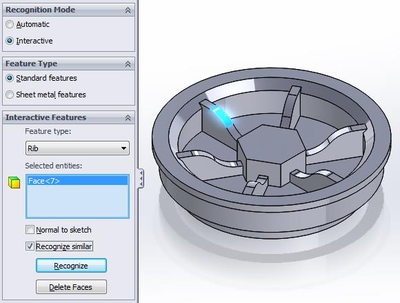 SOLIDWORKS FeatureWorks Rib Recognition Settings