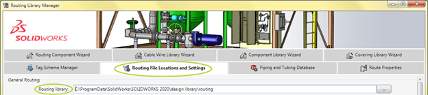 SOLIDWORKS Routing File Locations Settings