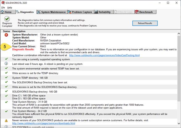 SOLIDWORKS RX Diagnostics NVIDIA Graphics Driver