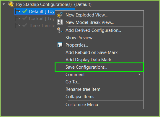 SOLIDWORKS Save Configurations Option