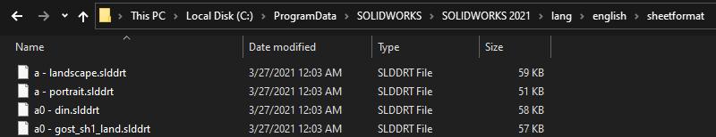 SOLIDWORKS Sheet Format Default Location