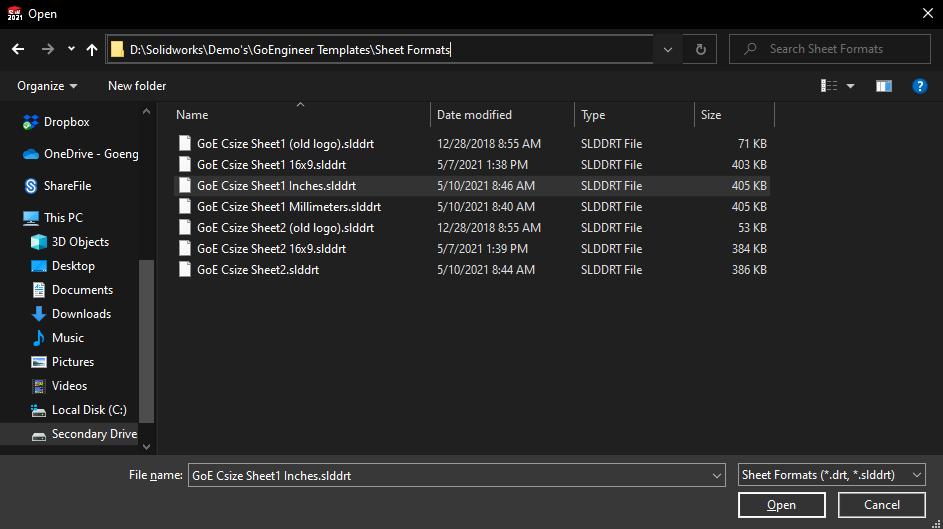SOLIDWORKS Sheet Format Folder Location