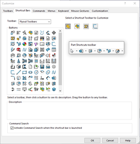 SOLIDWORKS 2021 Shortcut Bar Tab Function Icons
