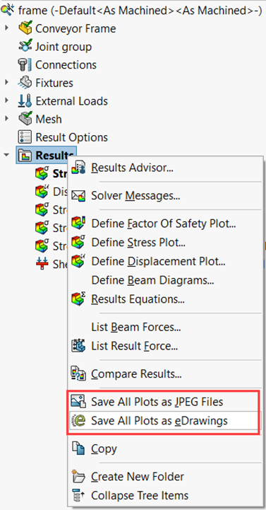 SOLIDWORKS Simulation Results Export Options