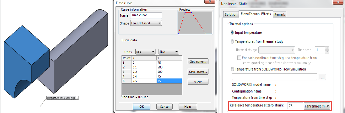 SOLIDWORKS simulation Time Curve Nonlinear Static