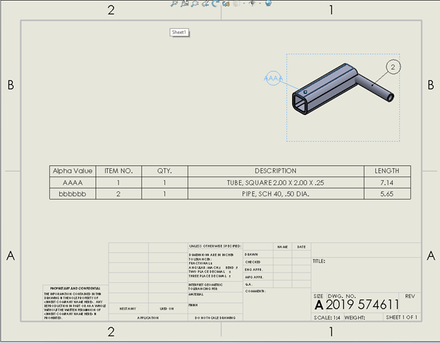 SOLIDWORKS Single Drawing Balloon Selected for Change
