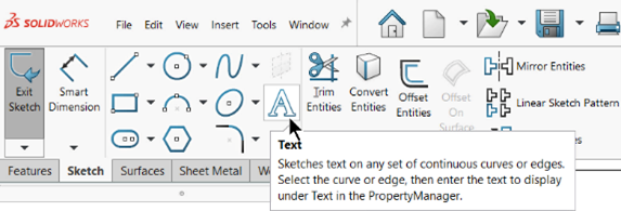 SOLIDWORKS Sketch Text