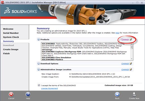 SOLIDWORKS Summary Page Change Admin Image
