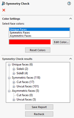 SOLIDWORKS Symmetry Check Color Settings