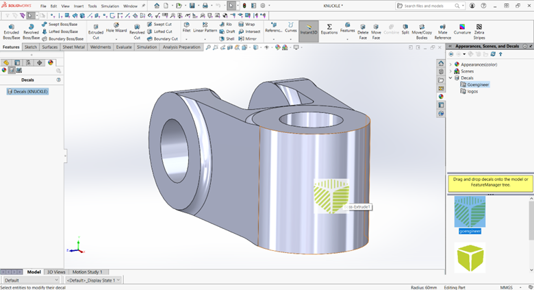 SOLIDWORKS Task Pane Appearances, Scene, Decals