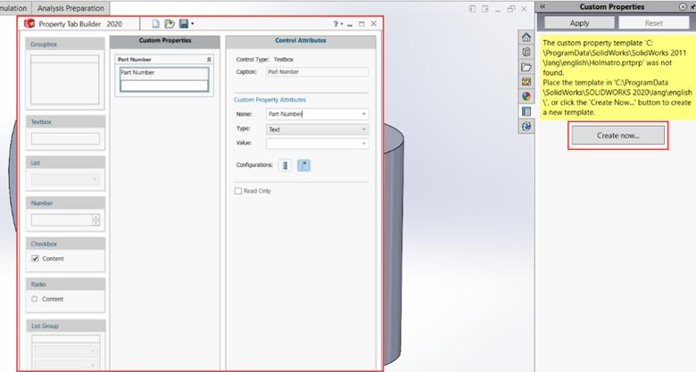 SOLIDWORKS Task Pane Custom Properties