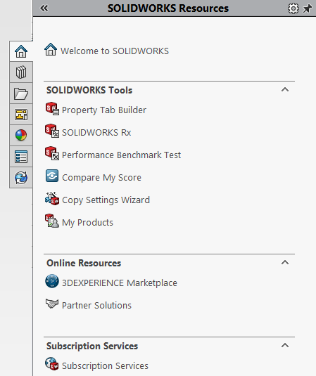 SOLIDWORKS Task Pane: SOLIDWORKS Resources