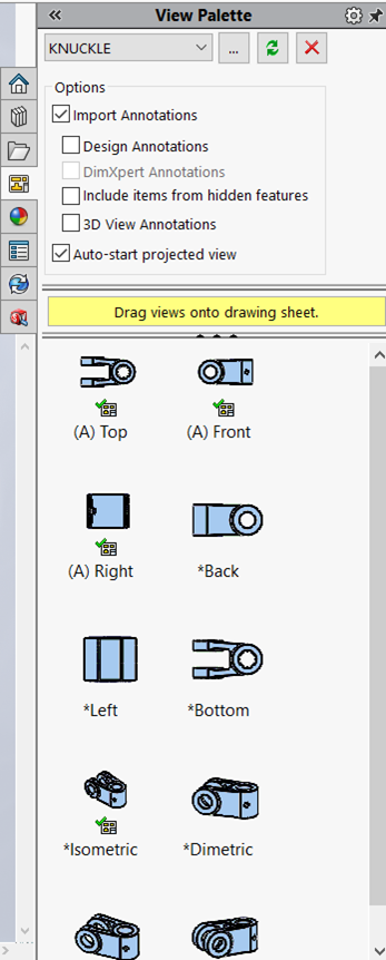 SOLIDWORKS Task Pane View Palette