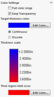SOLIDWORKS Thickness Analysis Color Settings