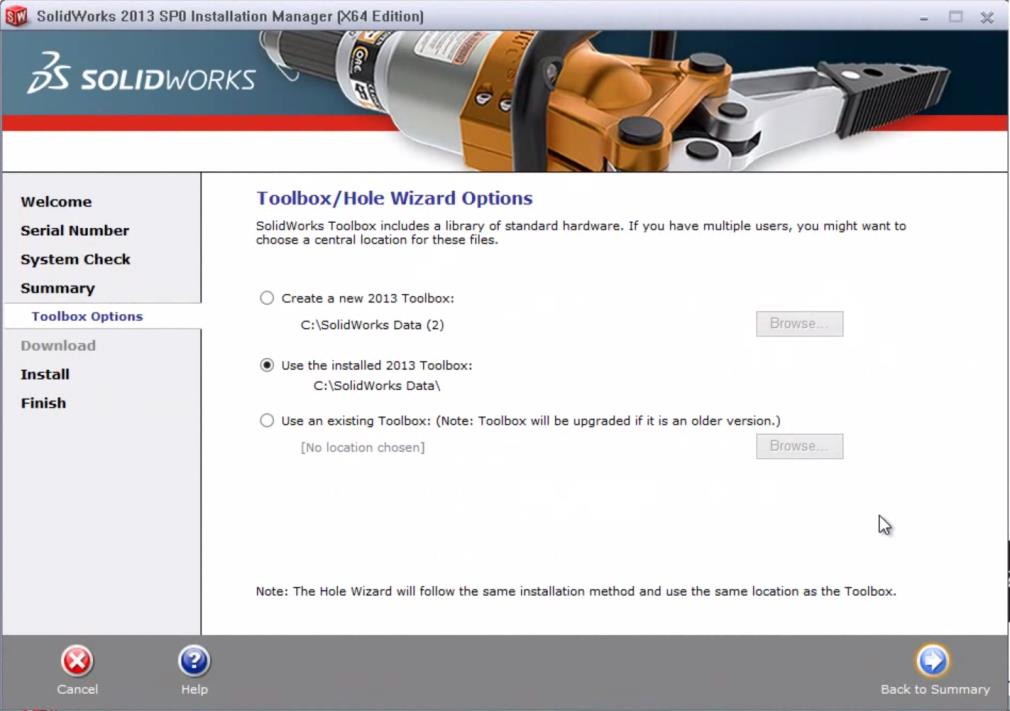 solidworks toolbox/wizard options box