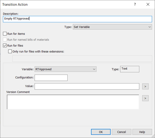 SOLIDWORKS Transition Action Empty RTApproved