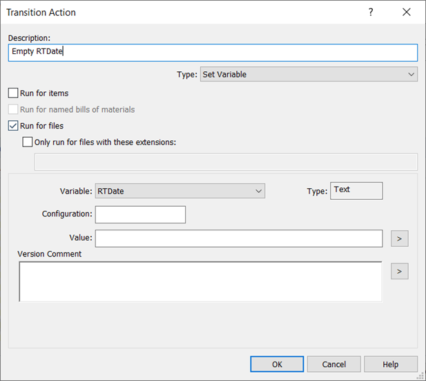 SOLIDWORKS Transition Action Empty RTdate